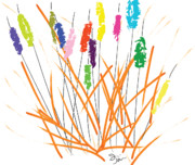 Children Paintings - Cheerful Cattails by Oiyee  At Oystudio