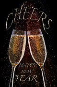 Season For Blessings Card Posters - Cheers For The New Year Poster by Debra     Vatalaro