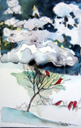 Winter Trees Mixed Media Posters - Cheery Sounds on a Quiet Day Poster by Mindy Newman