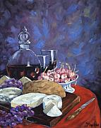 Prankearts Paintings - Cheese and Good Wine by Richard T Pranke