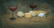 Bread Paintings - Cheese and Wine by Steve Mitchell