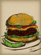Burger Digital Art Prints - Cheese Burger Print by Russell Pierce
