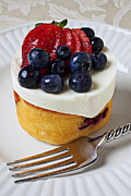 Forks Prints - Cheese cream cake with fruit Print by Garry Gay