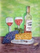 Wine Glasses Paintings - Cheese Wine and Grapes by Kathy Marrs Chandler