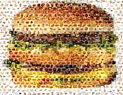 French Fries Mixed Media Posters - Cheeseburger Fast Food Mosaic Poster by Paul Van Scott