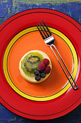 Food And Beverage Prints - Cheesecake on plate Print by Garry Gay