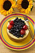 Foodstuff Posters - Cheesecake with fruit Poster by Garry Gay