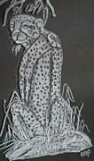 Animals Glass Art Originals - Cheetah by Akoko Okeyo