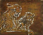 Catherine Jeltes Originals - Cheetah and Cub Abstract by Catherine Jeltes
