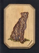 Cheetah Pyrography Framed Prints - Cheetah Framed Print by Clarence Butch Martin