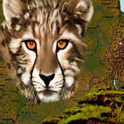 Cheetahs Digital Art Posters - Cheetah Country Poster by Frances Guzzetta