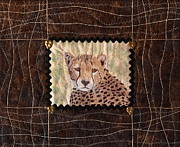 Art Quilt Tapestries - Textiles Tapestries - Textiles Posters - Cheetah Face Poster by Patty Caldwell