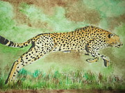 Cheetah Mixed Media Framed Prints - Cheetah Framed Print by Sharon Tuff