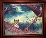 Cheetah Mixed Media Framed Prints - Cheetah Stare- Oil done at 12 years old Framed Print by Carol Cavalaris