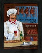 Wine Fine Art Framed Prints - Chef at Days End Framed Print by Marilyn Dunlap