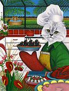 Baking Painting Posters - Chef Charles the Cat Poster by Carol Wilson