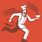 Illustration Digital Art Prints - Chef Cook Baker Running With Soup Bowl Print by Aloysius Patrimonio