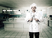 Chef Hat Prints - Chef In Kitchen Print by Gualtiero Boffi