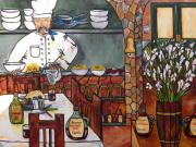 Italian Restaurant Painting Posters - Chef on line Poster by Patti Schermerhorn