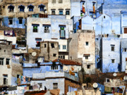 Blue House Framed Prints - Chefchaouen 1 Framed Print by Kenton Smith