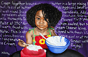 Family Love Painting Originals - Chefs Helper by David Marion Green