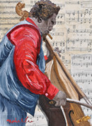 New Orleans Oil Paintings - Chello Player by Michael Lee