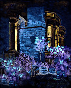 United Kingdom Greeting Cards Posters - Chelsea Row at Night Poster by Paula Ayers