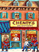 Hockey Painting Framed Prints - Chenoys Delicatessen Montreal Landmarks Painting  Carole Spandau Street Scene Specialist Artist Framed Print by Carole Spandau
