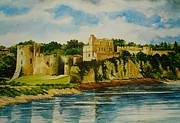 Cliffs Drawings Framed Prints - Chepstow Castle  Wales Framed Print by Andrew Read