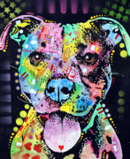 Dog Art Painting Framed Prints - Cherish The Pitbull Framed Print by Dean Russo