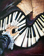 Piano Keys Painting Originals - Cherished Music by Deborah Smith
