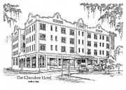 Property Drawings Prints - Cherokee Hotel Print by Audrey Peaty
