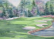 Golf Holes Posters - Cherokee Town and Country Club Poster by Deborah Ronglien