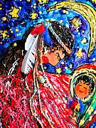 Trail Mixed Media Prints - Cherokee Trail of Tears Mother and Child Print by Laura  Grisham