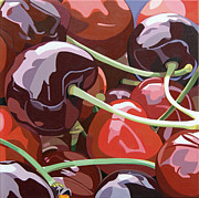 Black Berries Painting Framed Prints - Cherries Framed Print by Abby Skinner