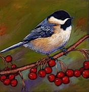 Garden Animals Posters - Cherries and Chickadee Poster by Johnathan Harris