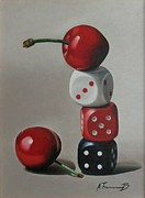 Hyper Framed Prints - Cherries and dice Framed Print by Alexander  Titorenkov