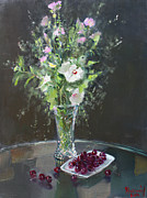Still-life With Flowers Posters - Cherries and Flowers for Her III Poster by Ylli Haruni