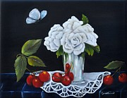 Table Cloth Metal Prints - Cherries and Roses Metal Print by Carol Sweetwood