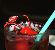 Straws Prints - Cherries and Rum Print by Joetta West