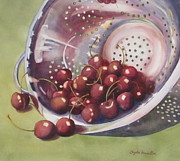 Silver Bowl Framed Prints - Cherries Framed Print by Daydre Hamilton