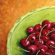 Cherries Paintings - Cherries Green Plate by Richard T Pranke