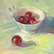 Cherry Art Prints - Cherries in a cup on a sunny day painting Print by Svetlana Novikova