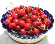Cherries In Blue Bowl Print by Carol Groenen