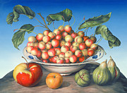 Red And Yellow Posters - Cherries in Delft bowl with red and yellow apple Poster by Amelia Kleiser