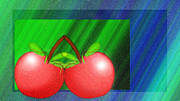 Bright Colors Metal Prints - Cherries In Love Metal Print by Andee Photography