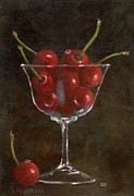 Champagne Painting Prints - Cherries Jubilee Print by Sheryl Heatherly Hawkins