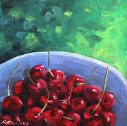Cherry Art Painting Framed Prints - Cherries On A Blue Plate Framed Print by Richard T Pranke