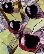 Cherries Posters - Cherries On Flat Homeware Poster by Evguenia Men