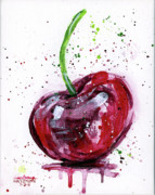 Drips Painting Metal Prints - Cherry 1 Metal Print by Arleana Holtzmann